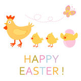 Easter card with chicken and chicks Stock Images