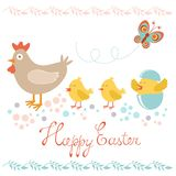 Easter card with chicken and chicks Royalty Free Stock Image