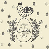 Easter card with chicken and egg Stock Photography