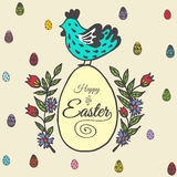 Easter card with chicken and egg Royalty Free Stock Photos