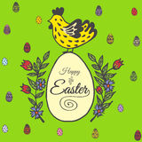 Easter card with chicken and egg Stock Image