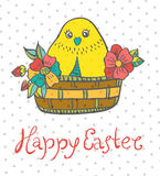Easter card with chicken and flowers Stock Images