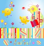 Easter card with chicken Royalty Free Stock Photo