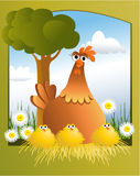 Easter card with chickens Royalty Free Stock Image