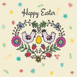 Easter card with chickens and egg Stock Photos