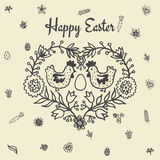 Easter card with chickens and egg Royalty Free Stock Photography