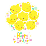 Easter card with chicks. Easter card with funny chicks Stock Photography