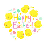 Easter card with chicks. Easter card with funny chicks Royalty Free Stock Image
