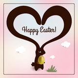 Easter card. Chocolate bunny with golden egg, and heart shaped ears. Seasonal greeting postcard stock illustration