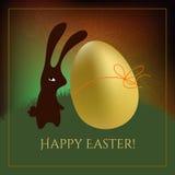 Easter card. Chocolate bunny with golden egg. Seasonal greeting postcard stock illustration