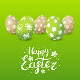 Easter card with color decorated eggs Royalty Free Stock Images