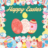 Easter card with colored eggs Royalty Free Stock Photo