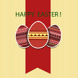 Easter card with colored eggs. Red ribbon and an inscription on a beige background Stock Images