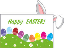 Easter card with colorful eggs and bunny ears Royalty Free Stock Photo