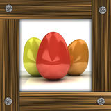 Easter card with colorful eggs in grey timbered frame Royalty Free Stock Photos