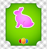 Easter card with colorful rabbit and eggs Stock Photography