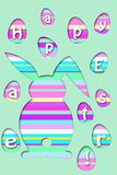Easter card with colorful striped rabbit and eggs shape Royalty Free Stock Photography