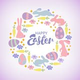 Easter card with cute bunnies, chickens and, owl and flowers in cartoon style stock illustration