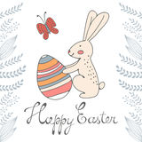 Easter card with cute bunny and Easter egg Stock Photo