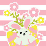 Easter card with cute bunny girl and flowers on pink striped background Royalty Free Stock Image