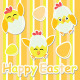 Easter card with cute chick and colorful egg on stripes background Royalty Free Stock Photo