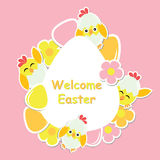 Easter card with cute chick, flowers and colorful egg on egg frame Royalty Free Stock Photo
