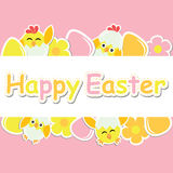 Easter card with cute chick, flowers and colorful egg on pink background Stock Photography