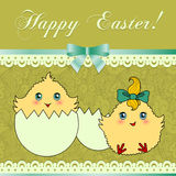 Easter card with cute chicken Stock Photography