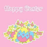Easter card with cute eggs and flowers on pink background Royalty Free Stock Images
