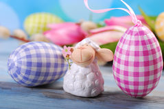 Easter card with cute lamb and eggs Stock Photos