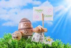 Easter card with cute lamb and eggs Royalty Free Stock Photos