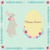 Easter card with cute rabbit. And bright background Royalty Free Stock Images