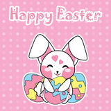 Easter card with cute rabbit hug Easter egg on polka dot background for Kid Easter postcard and greeting card Stock Image