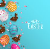 Easter card of 3d chocolate bunny and color eggs