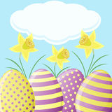 Easter card with daffodils and eggs Stock Image
