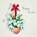 Easter card for the day with snowdrops-EPS10 Stock Photos