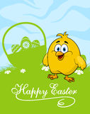 Easter card with decorated eggs and cute chicken Royalty Free Stock Photos
