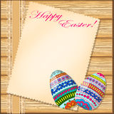 Easter card with decorated eggs Stock Photos