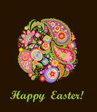 Easter card with decorative colorful floral egg Royalty Free Stock Photos