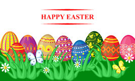 Easter card with decorative eggs in grass Stock Photo