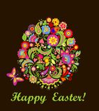 Easter card with decorative floral egg Stock Image