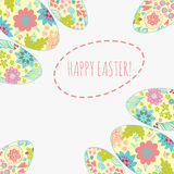 Easter card with doodle ornament eggs set. Royalty Free Stock Image