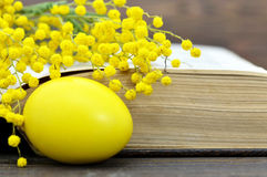 Easter card: Easter egg, old book and spring flowers Royalty Free Stock Images
