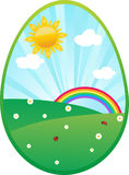 Easter card with egg. And spring landskape Stock Photo