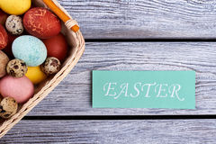 Easter card and egg basket. Stock Image