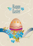 Easter card with egg and blue flowers Stock Image