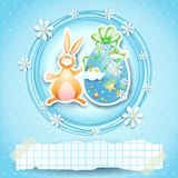 Easter card with egg, bunny and copy space Royalty Free Stock Image