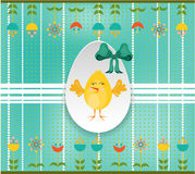 Easter card with egg, chick and flowers on dotted Stock Image