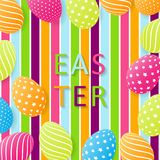 Easter card with egg. Creative 3D eggs with pattern. Cheerful fe. Stive colorful background. Vector illustration Stock Photo
