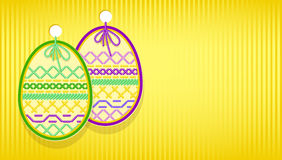 Easter card with egg and embroidery. Royalty Free Stock Images